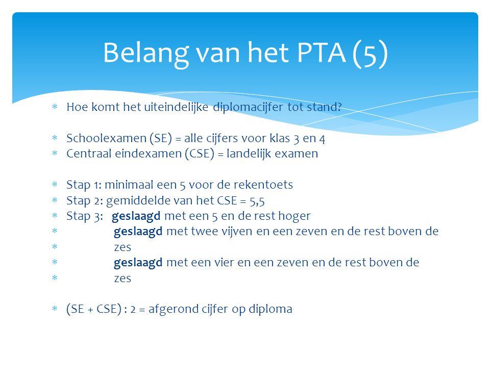 Belang van het PTA (5) Hoe komt het uiteindelijke diplomacijfer tot stand Schoolexamen (SE) = alle cijfers voor klas 3 en 4.