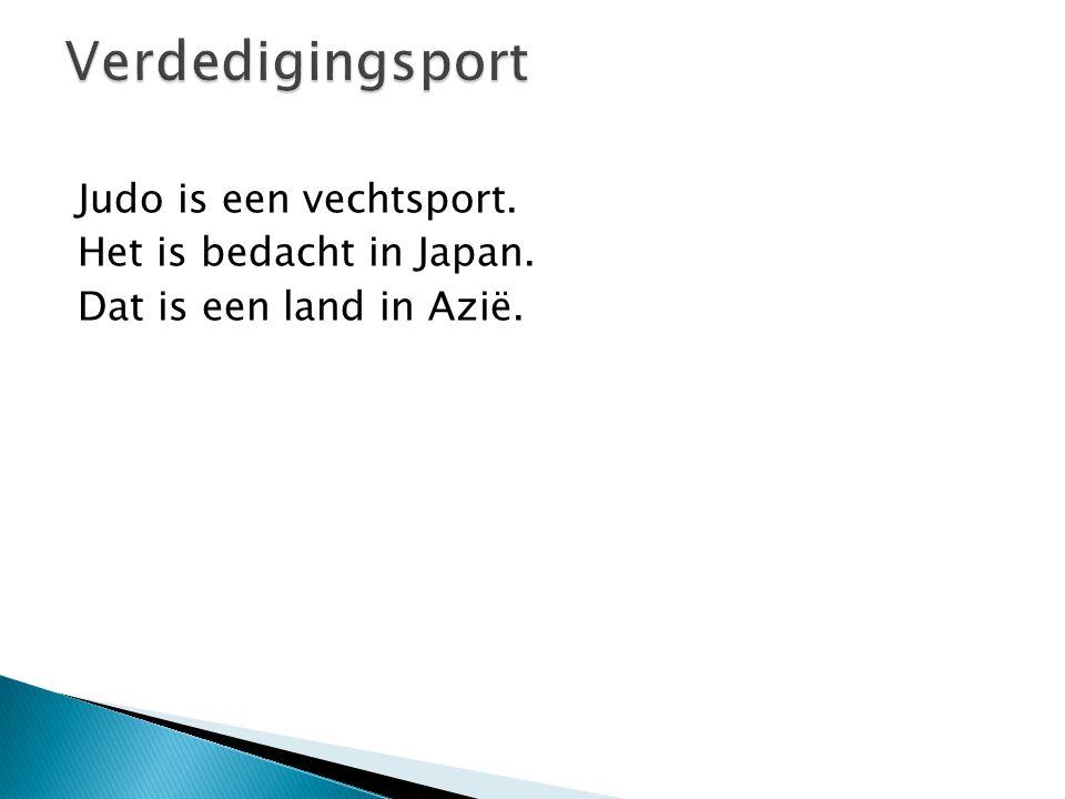 Verdedigingsport Judo is een vechtsport. Het is bedacht in Japan. Dat is een land in Azië.