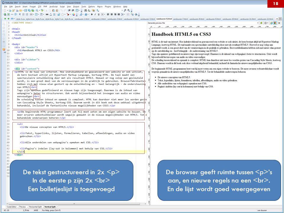 De tekst gestructureerd in 2x <p>