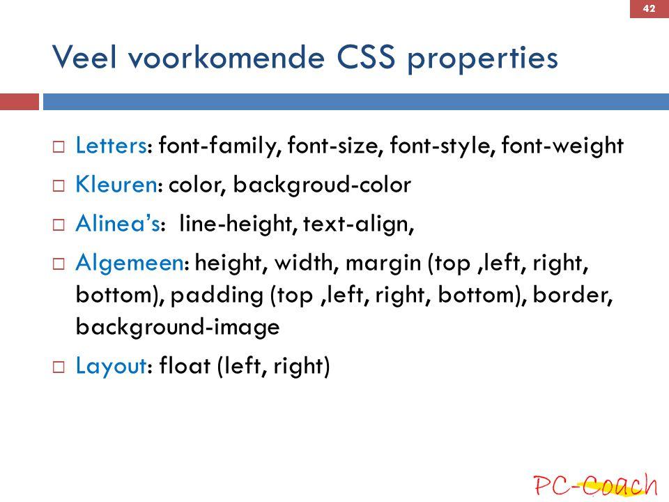 Veel voorkomende CSS properties