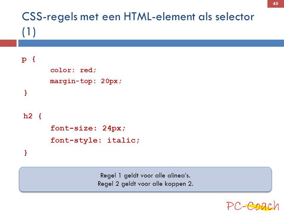 CSS-regels met een HTML-element als selector (1)