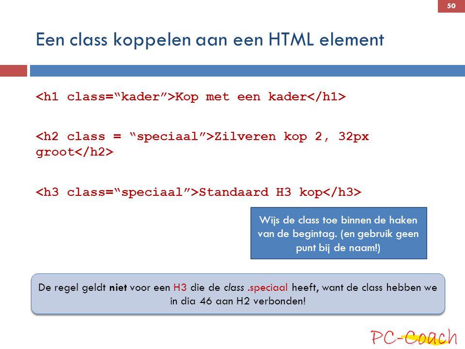 Een class koppelen aan een HTML element