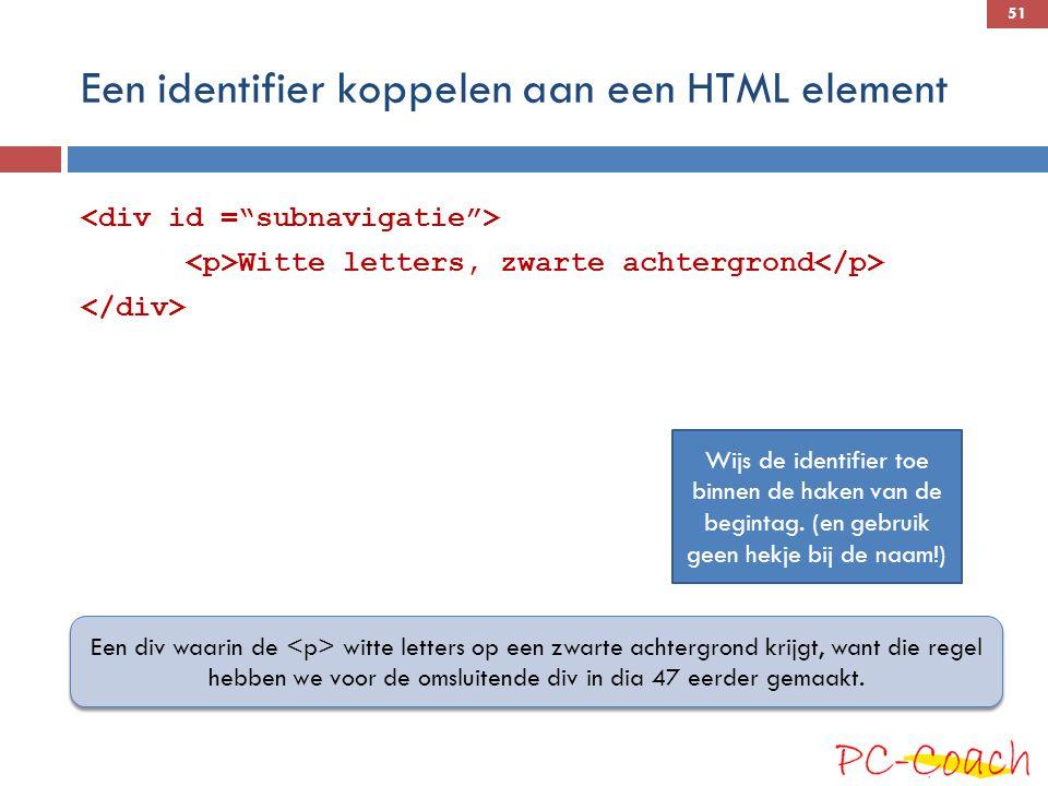 Een identifier koppelen aan een HTML element
