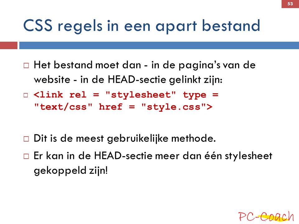CSS regels in een apart bestand