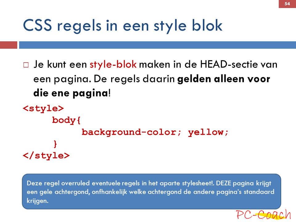 CSS regels in een style blok
