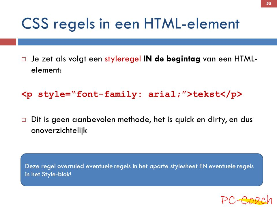 CSS regels in een HTML-element