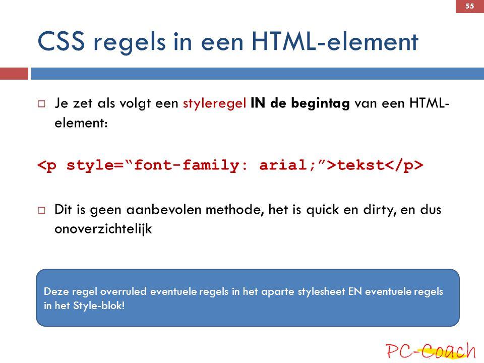 CSS regels in een HTML-element