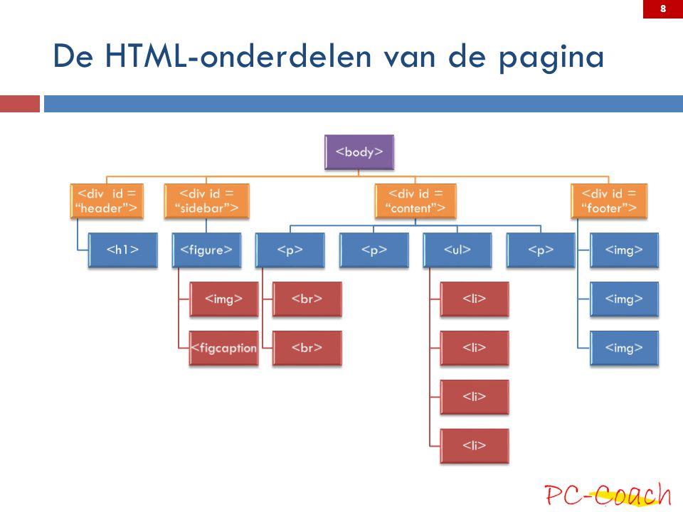 De HTML-onderdelen van de pagina