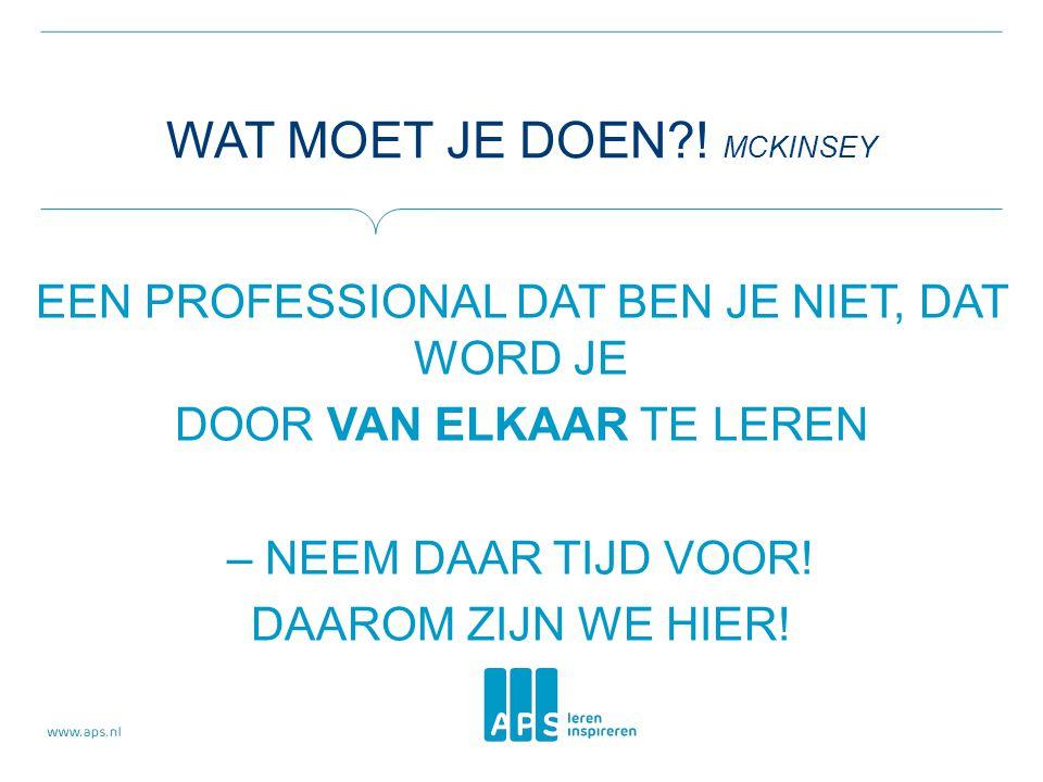 Wat moet je doen ! McKinsey