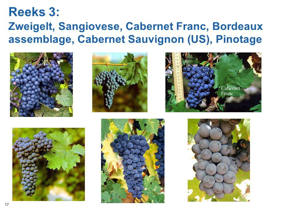 Reeks 3: Zweigelt, Sangiovese, Cabernet Franc, Bordeaux assemblage, Cabernet Sauvignon (US), Pinotage