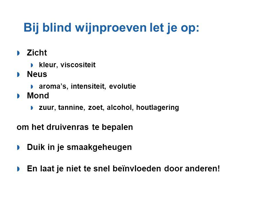 Bij blind wijnproeven let je op: