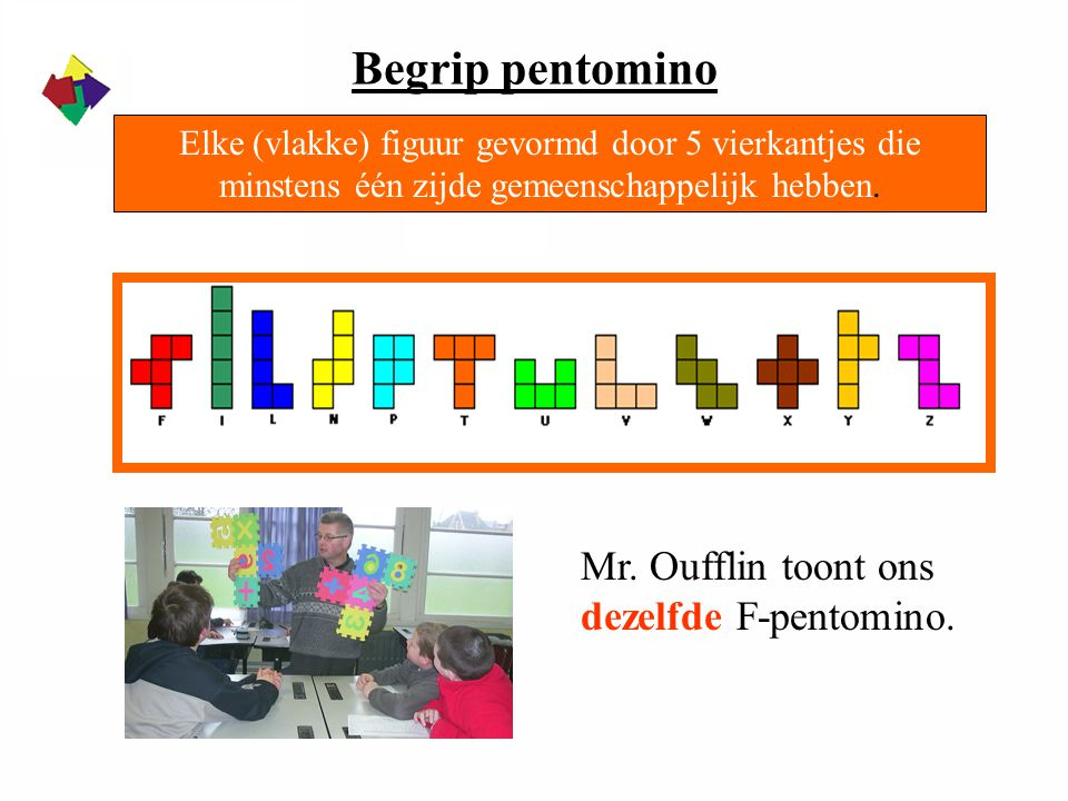 Begrip pentomino Mr. Oufflin toont ons dezelfde F-pentomino.