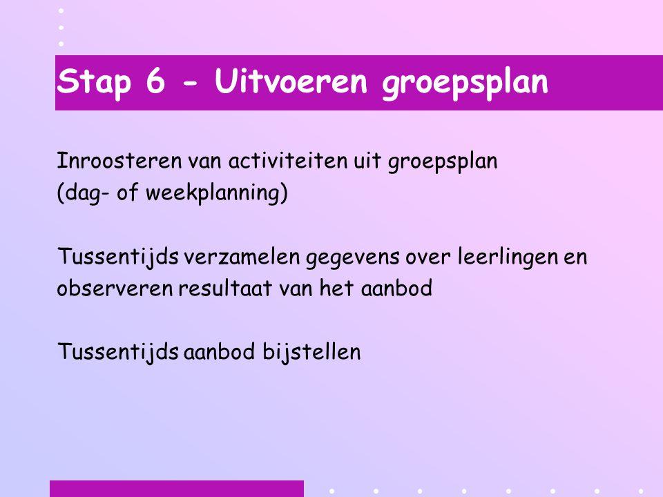 Stap 6 - Uitvoeren groepsplan