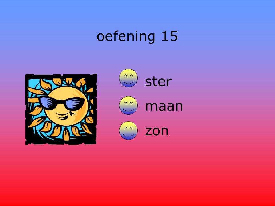 oefening 15 ster maan zon