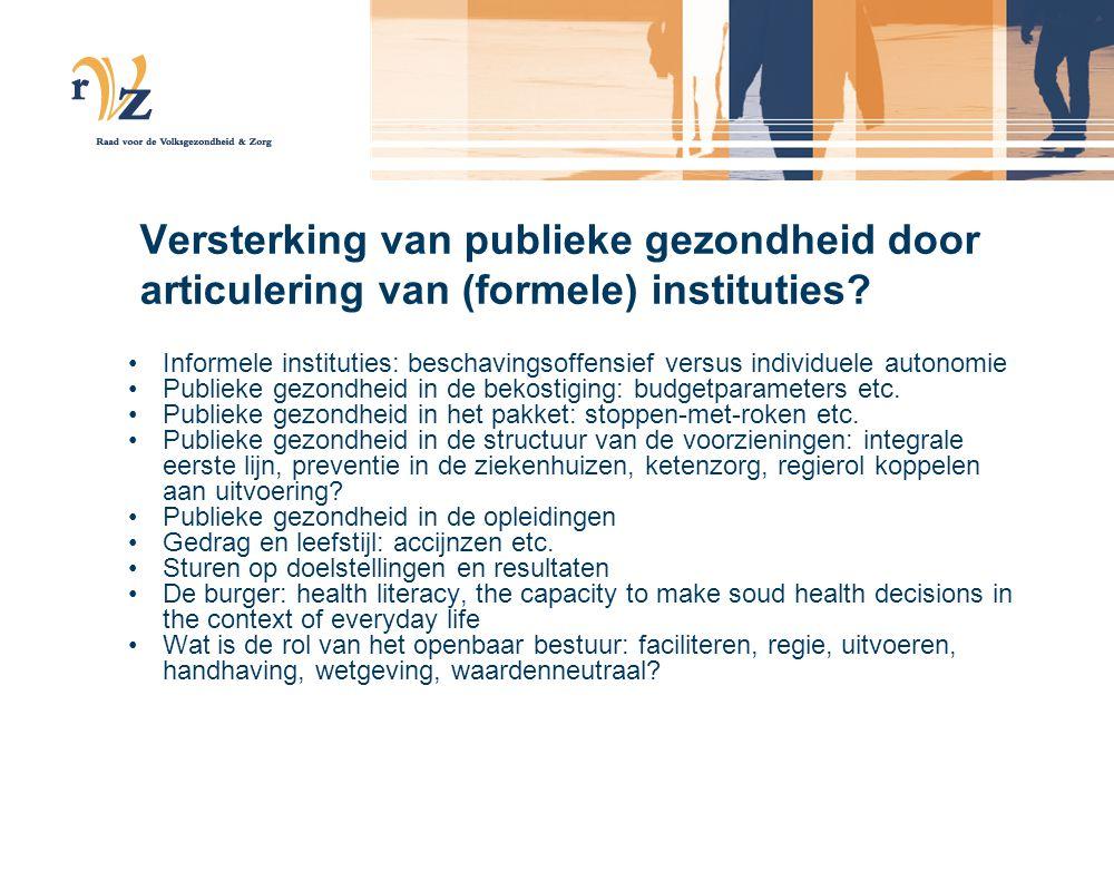 Versterking van publieke gezondheid door articulering van (formele) instituties
