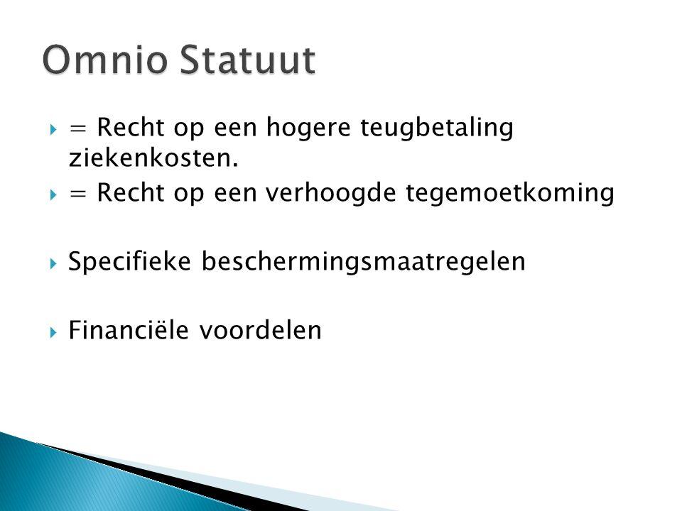 Omnio Statuut = Recht op een hogere teugbetaling ziekenkosten.