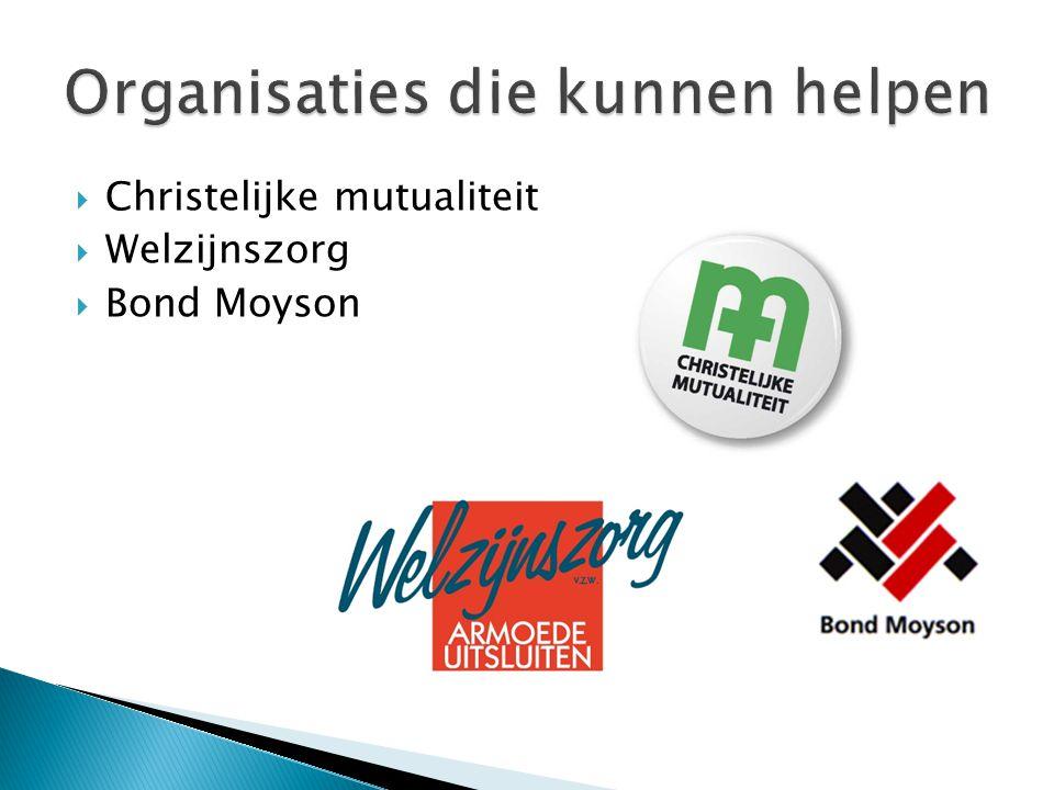 Organisaties die kunnen helpen