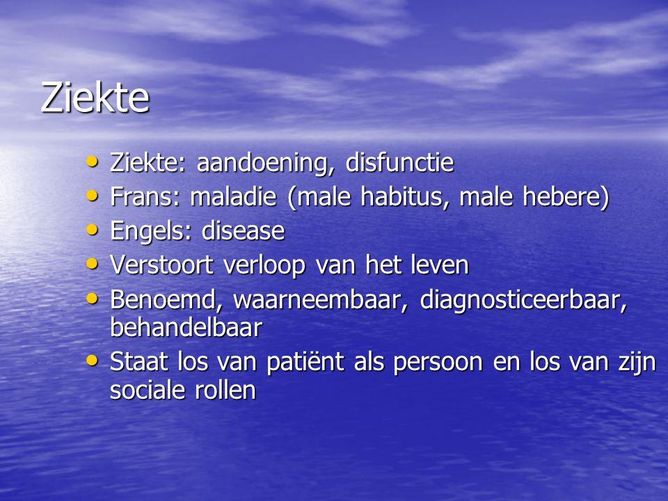 Ziekte Ziekte: aandoening, disfunctie