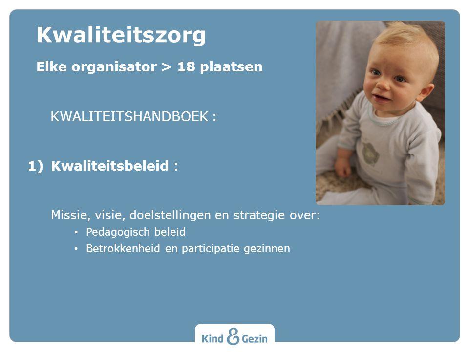 Kwaliteitszorg Elke organisator > 18 plaatsen KWALITEITSHANDBOEK :