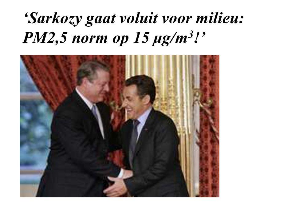'Sarkozy gaat voluit voor milieu: PM2,5 norm op 15 μg/m3!'