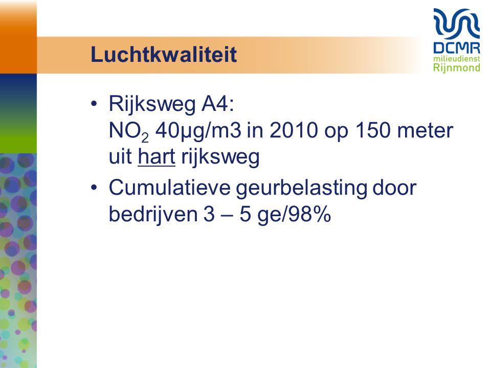 Luchtkwaliteit Rijksweg A4: NO2 40µg/m3 in 2010 op 150 meter uit hart rijksweg.