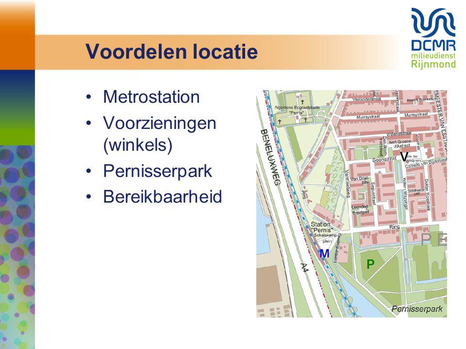 Voordelen locatie Metrostation Voorzieningen (winkels) Pernisserpark