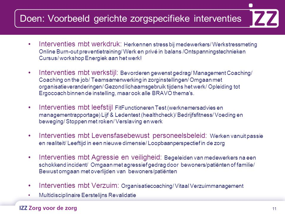 Doen: Voorbeeld gerichte zorgspecifieke interventies