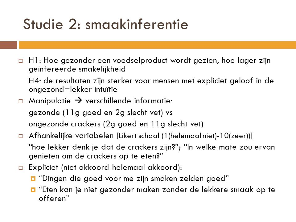 Studie 2: smaakinferentie