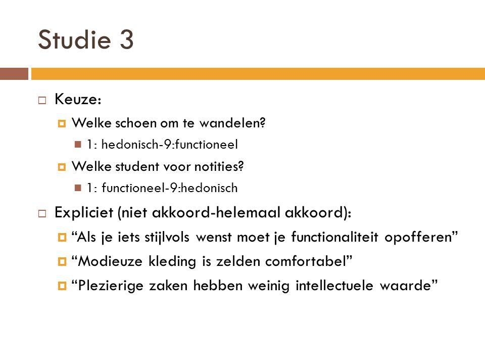 Studie 3 Keuze: Expliciet (niet akkoord-helemaal akkoord):