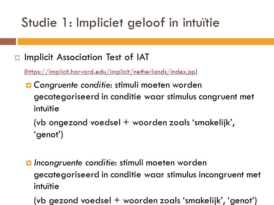 Studie 1: Impliciet geloof in intuïtie