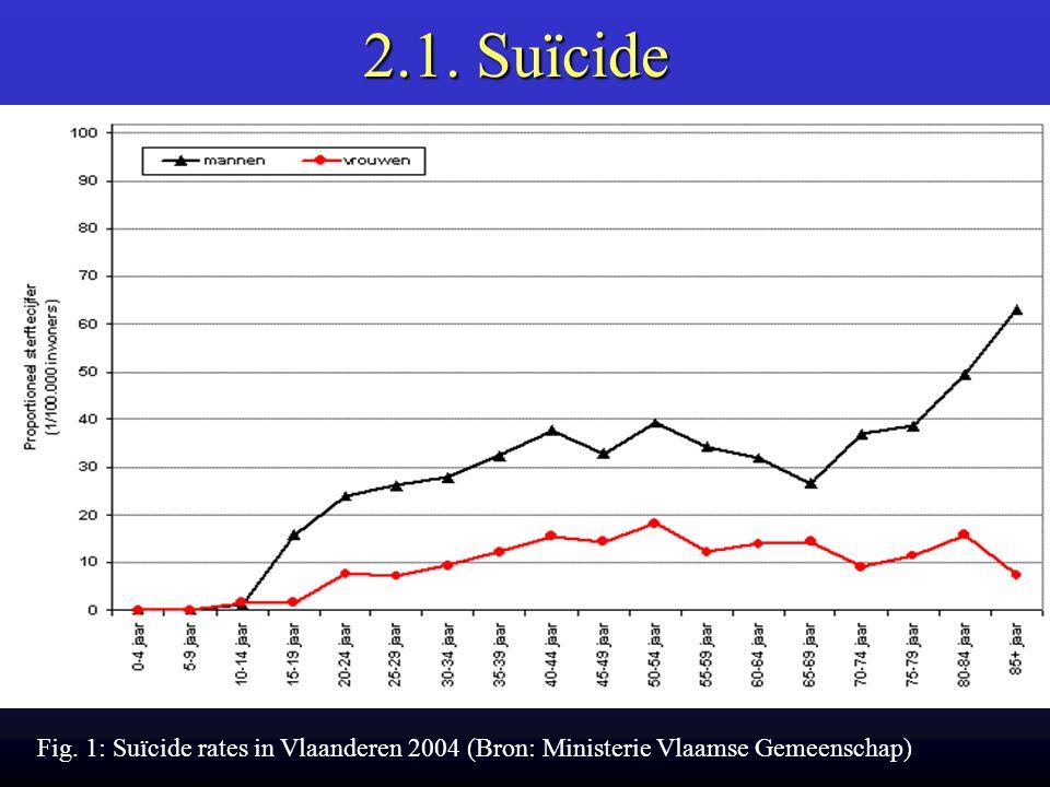 2.1. Suïcide Fig. 1: Suïcide rates in Vlaanderen 2004 (Bron: Ministerie Vlaamse Gemeenschap)