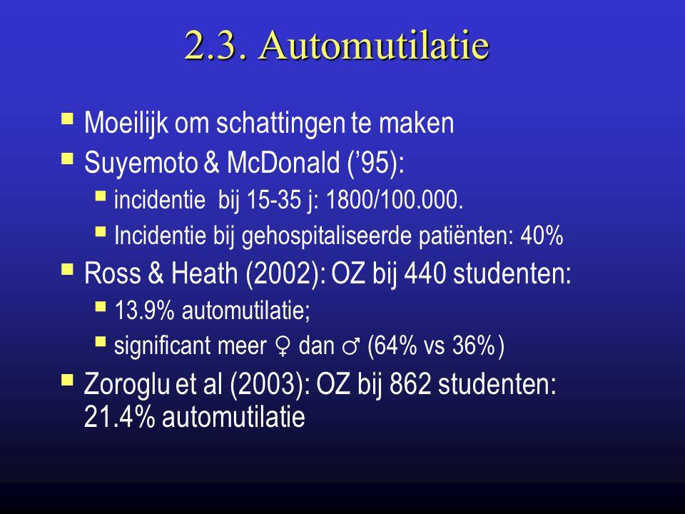 2.3. Automutilatie Moeilijk om schattingen te maken