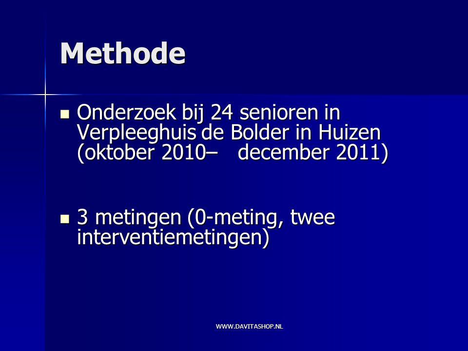 Methode Onderzoek bij 24 senioren in Verpleeghuis de Bolder in Huizen (oktober 2010– december 2011)