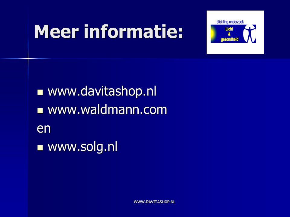 Meer informatie: www.davitashop.nl www.waldmann.com en www.solg.nl