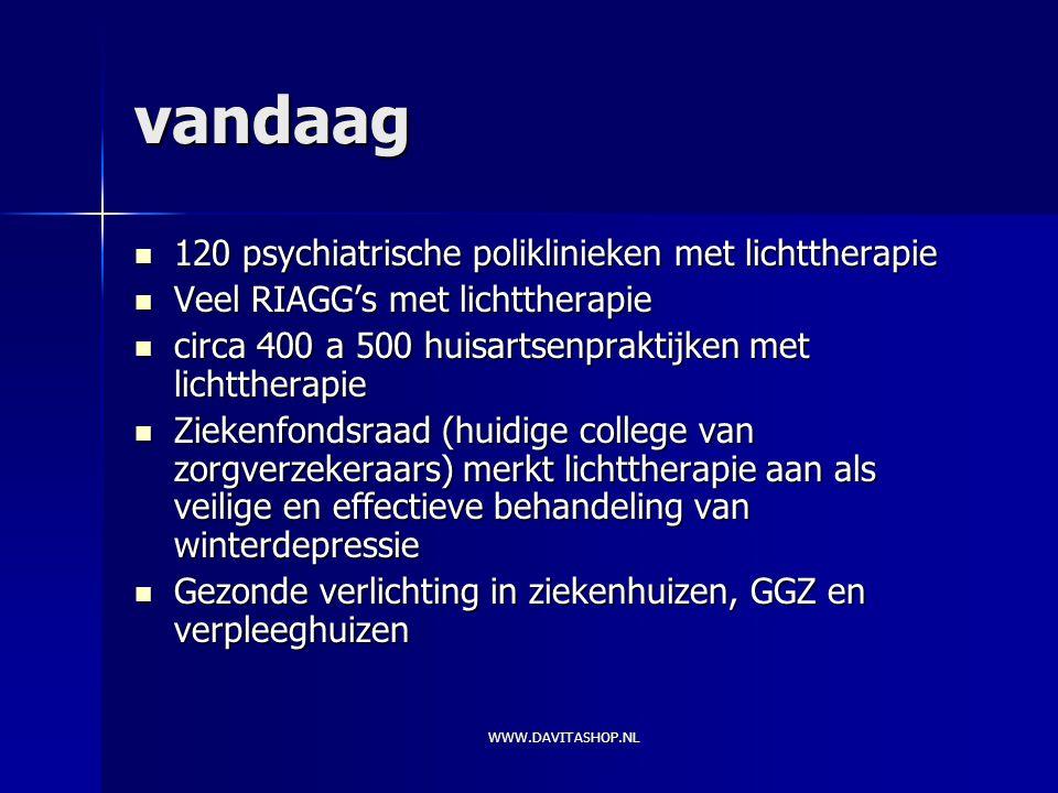 vandaag 120 psychiatrische poliklinieken met lichttherapie