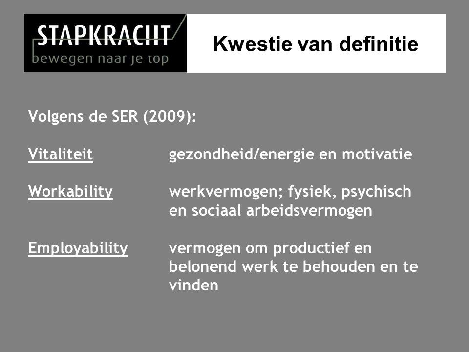 Kwestie van definitie Volgens de SER (2009):