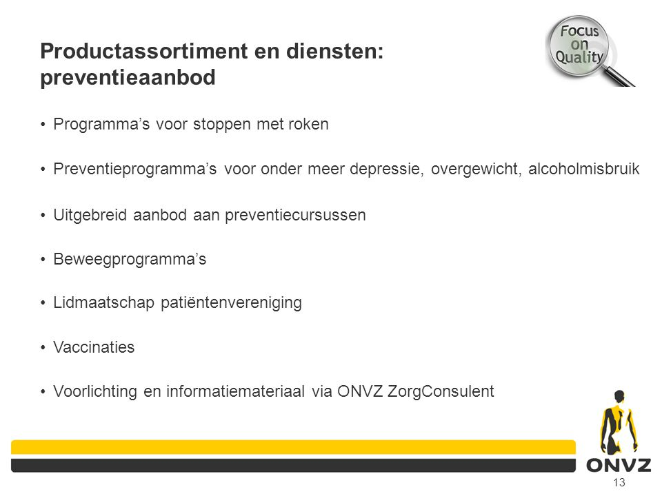 Productassortiment en diensten: preventieaanbod