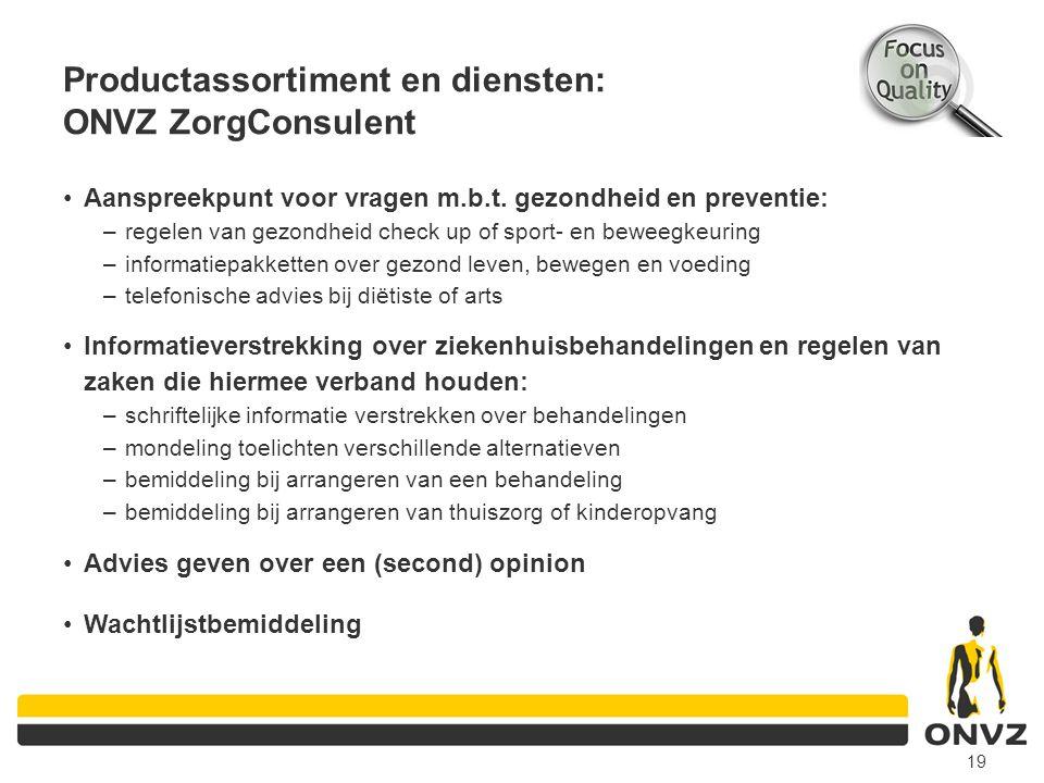 Productassortiment en diensten: ONVZ ZorgConsulent