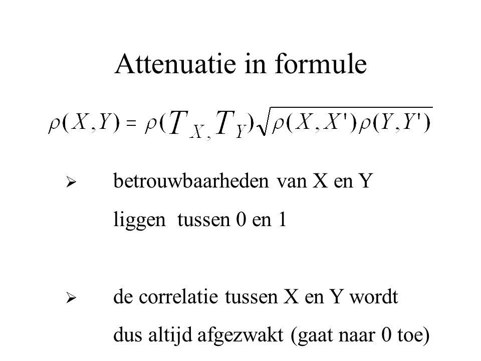 Attenuatie in formule liggen tussen 0 en 1