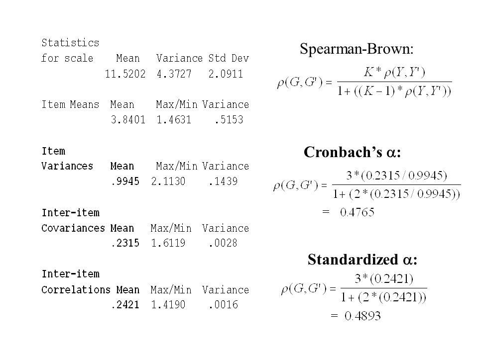 Spearman-Brown: Cronbach's : Standardized :
