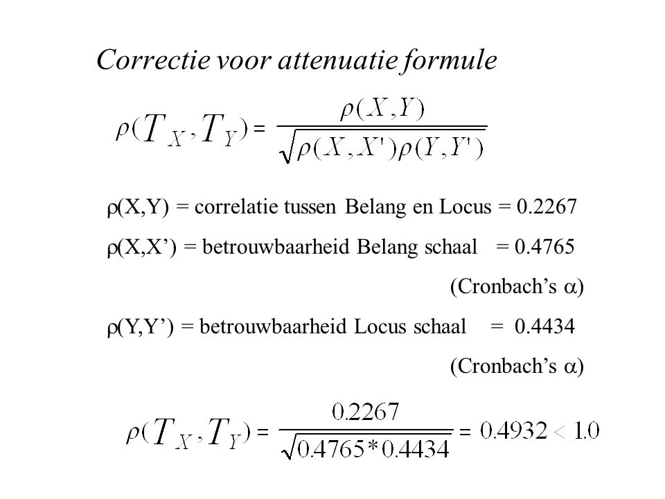 Correctie voor attenuatie formule