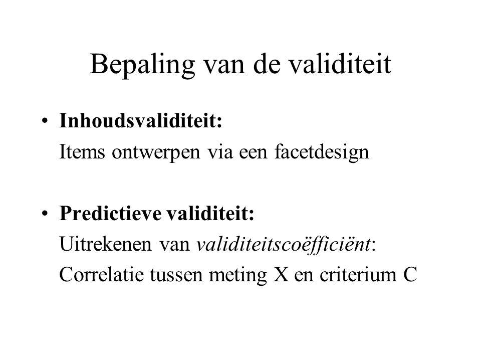 Bepaling van de validiteit