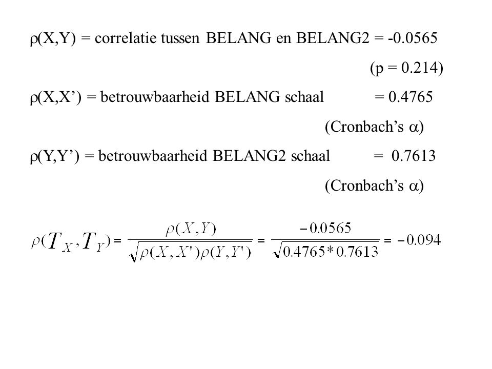 (X,Y) = correlatie tussen BELANG en BELANG2 = -0.0565