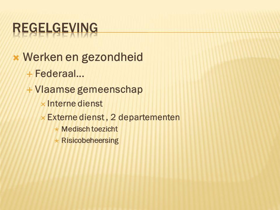Regelgeving Werken en gezondheid Federaal... Vlaamse gemeenschap