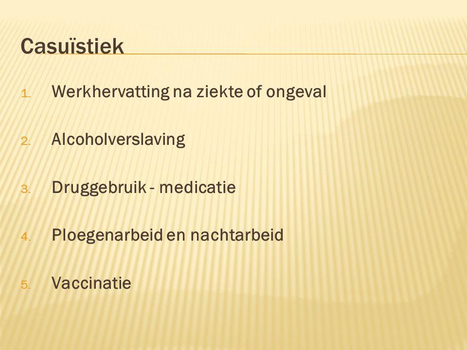 Casuïstiek Werkhervatting na ziekte of ongeval Alcoholverslaving