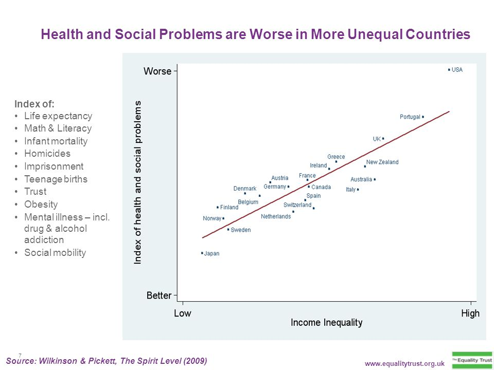 Health and Social Problems are Worse in More Unequal Countries