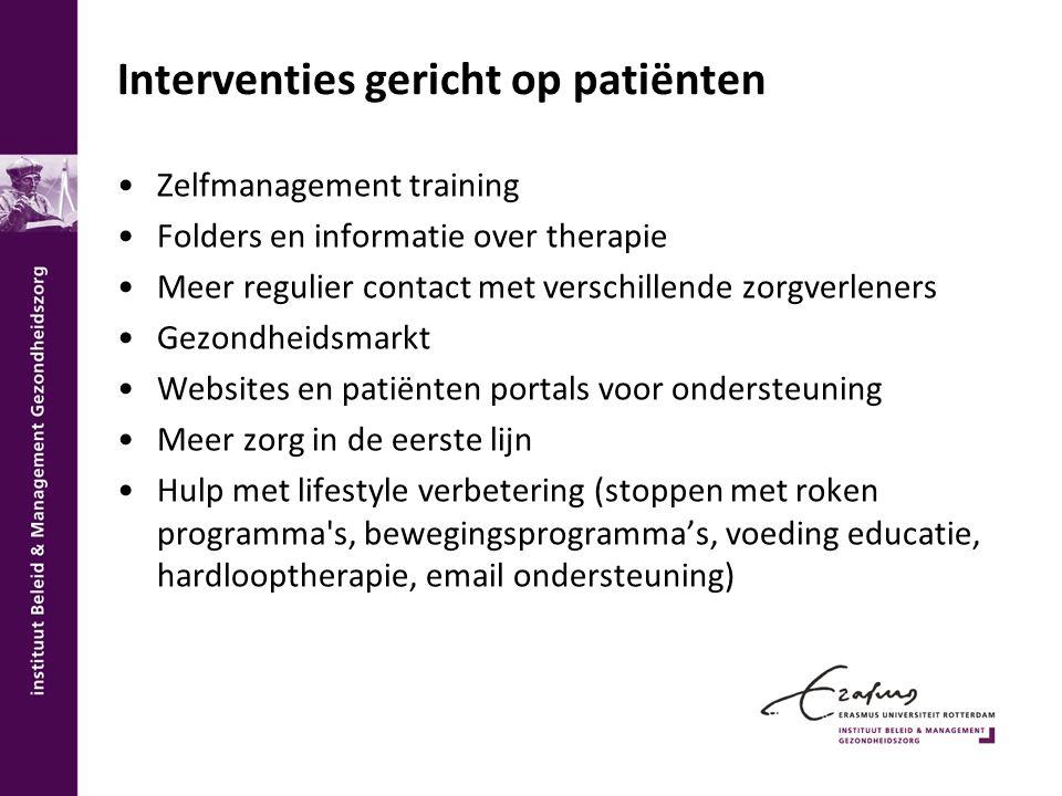 Interventies gericht op patiënten