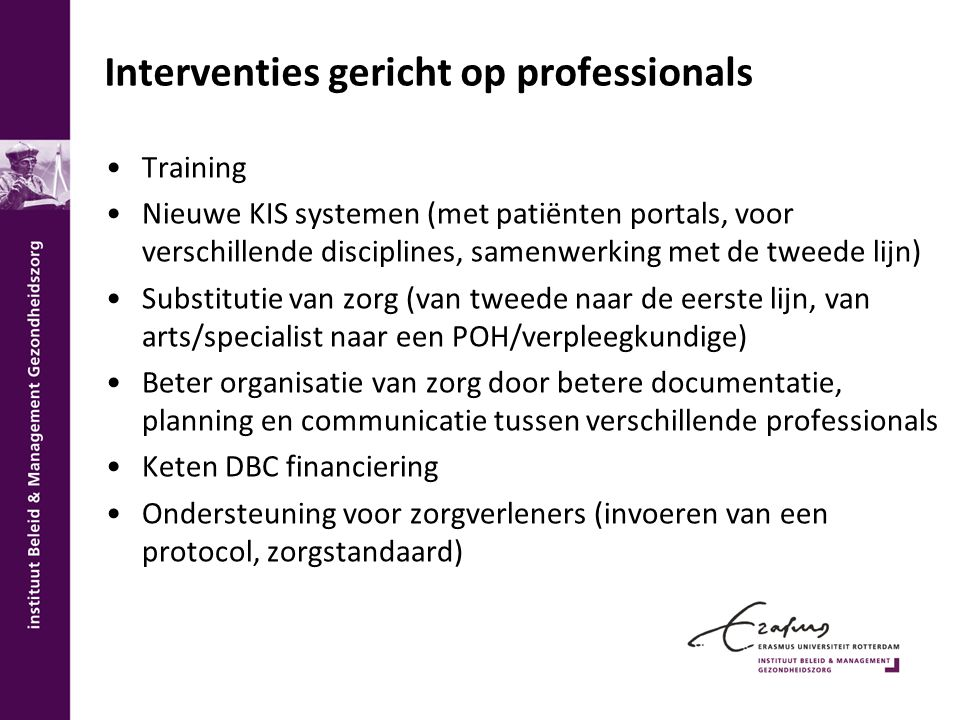 Interventies gericht op professionals