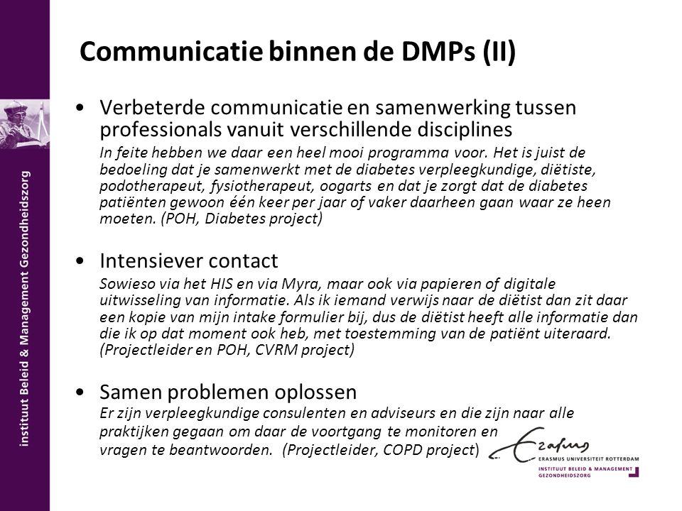 Communicatie binnen de DMPs (II)