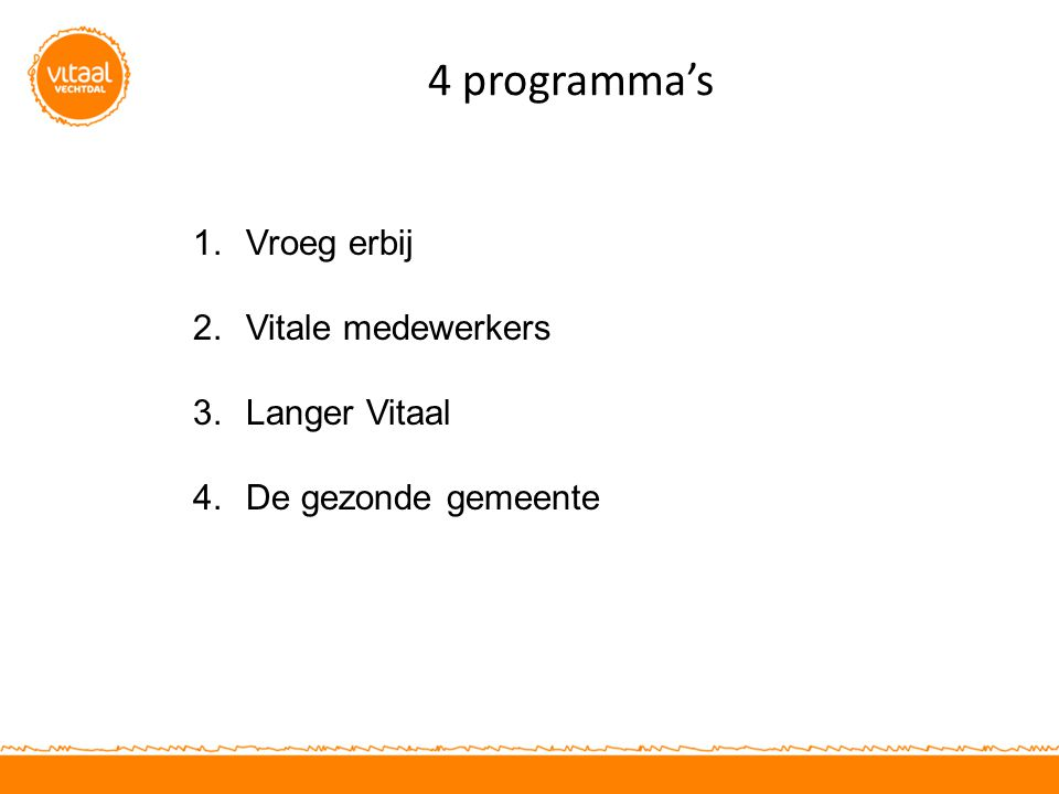 4 programma's Vroeg erbij Vitale medewerkers Langer Vitaal